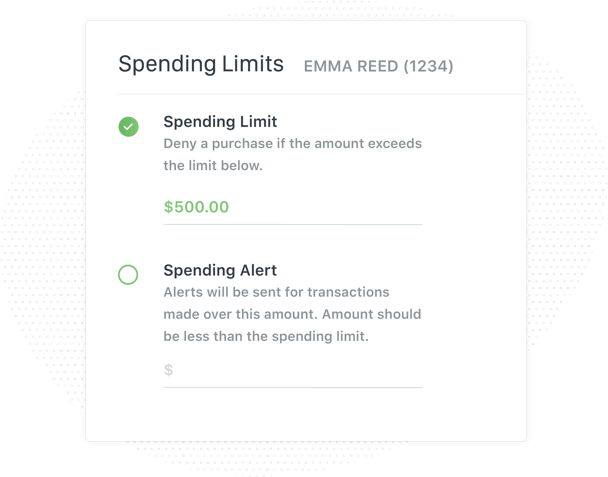 Control card spending limits