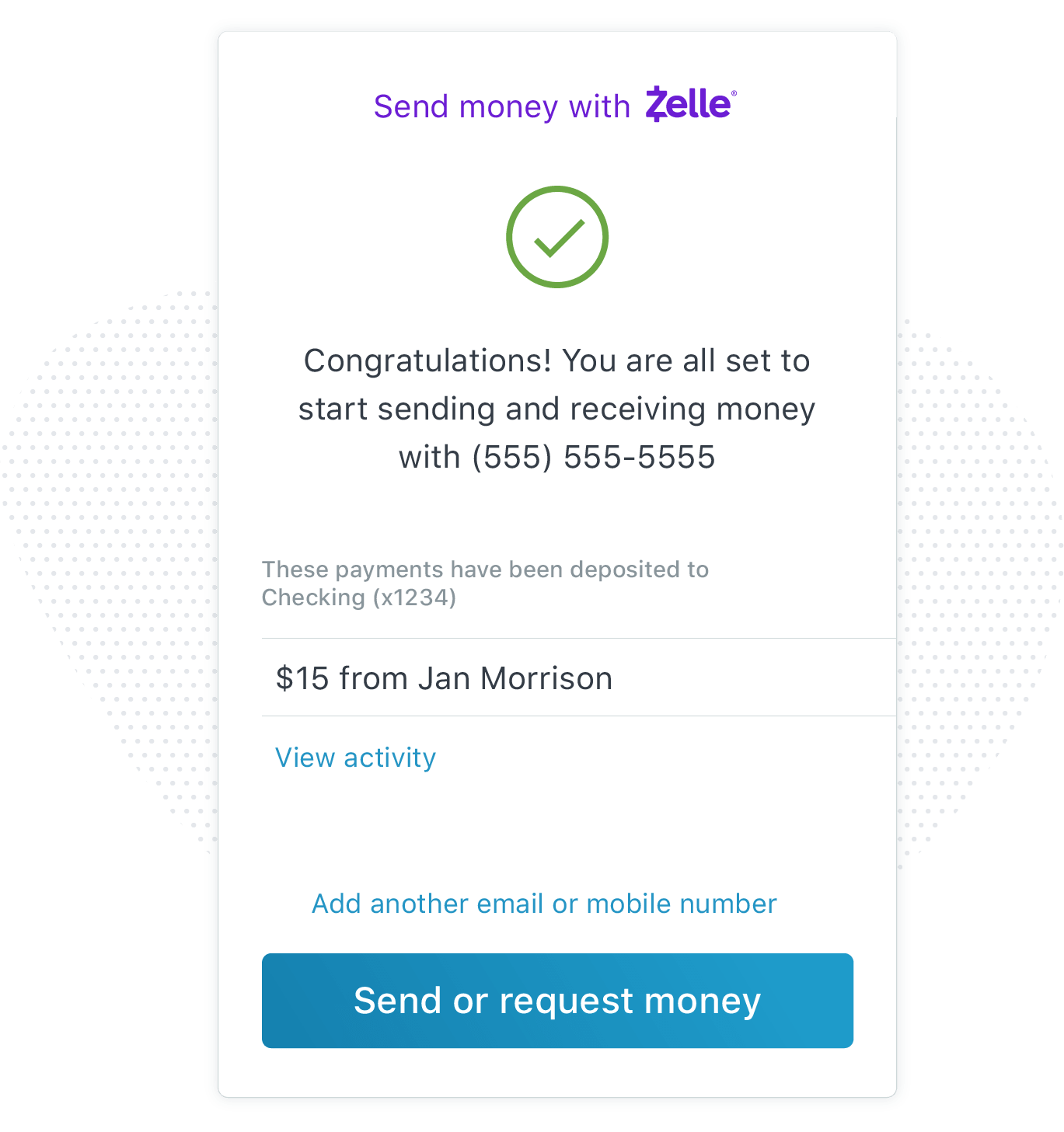 Zelle, setup personal payments
